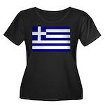 Greek Flag Women's Plus Size Scoop Neck Dark T-Shi