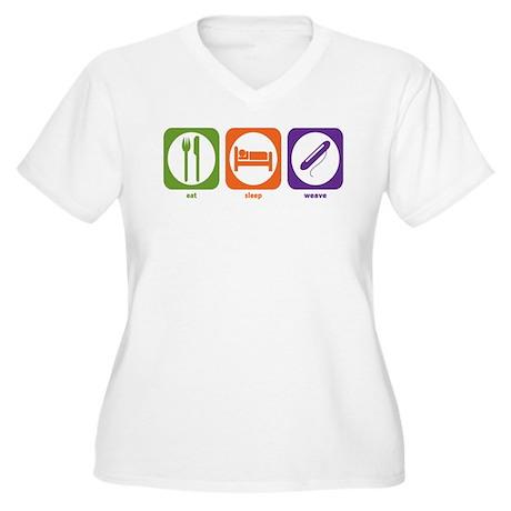 Eat Sleep Weave Women's Plus Size V-Neck T-Shirt