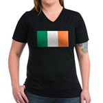 Irish Flag Women's V-Neck Dark T-Shirt