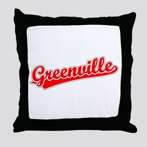Retro Greenville (Red) Throw Pillow