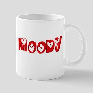 Moody Surname Heart Design Mugs
