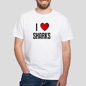 I LOVE SHARKS White T-Shirt