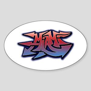 Miami Graffiti Oval Sticker