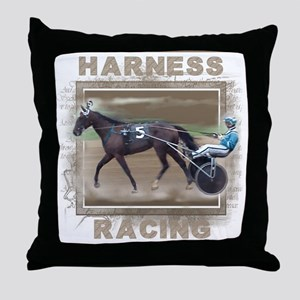 Brown Harness Racing Throw Pillow