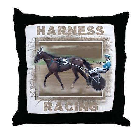 Brown Harness Racing Throw Pillow