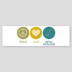 Peace Love Metal Detector Bumper Sticker
