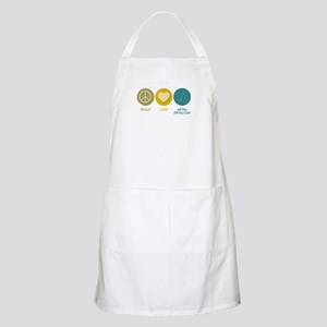 Peace Love Metal Detector BBQ Apron