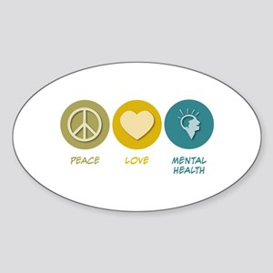 Peace Love Mental Health Oval Sticker