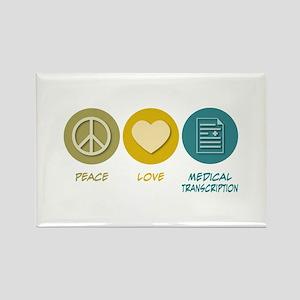 Peace Love Medical Transcription Rectangle Magnet