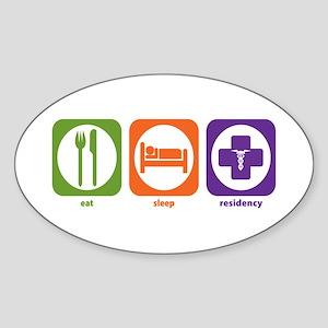 Eat Sleep Residency Oval Sticker