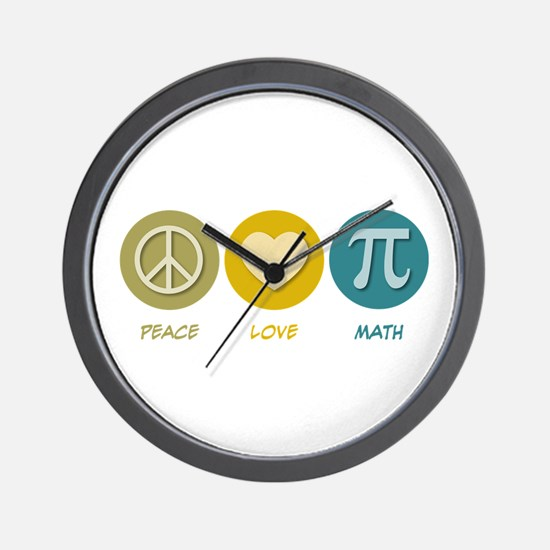 Peace Love Math Wall Clock