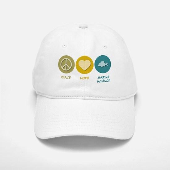 Peace Love Marine Science Baseball Baseball Cap