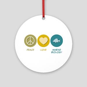 Peace Love Marine Biology Ornament (Round)