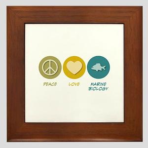 Peace Love Marine Biology Framed Tile