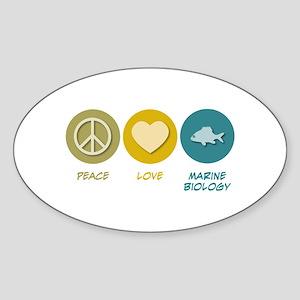 Peace Love Marine Biology Oval Sticker
