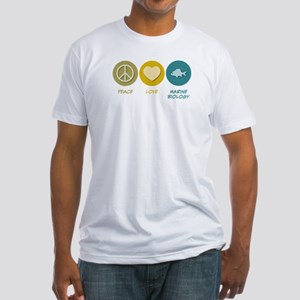 Peace Love Marine Biology Fitted T-Shirt