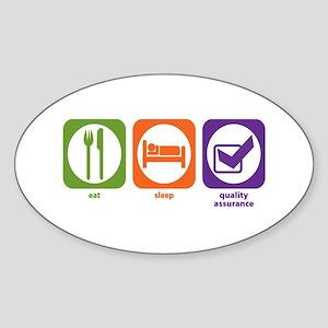 Eat Sleep Quality Assurance Oval Sticker