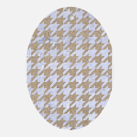 HOUNDSTOOTH1 WHITE MARBLE & SAND Oval Ornament