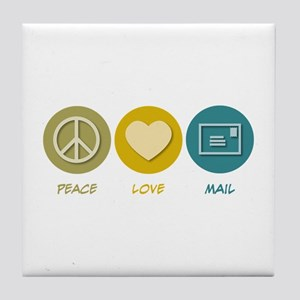Peace Love Mail Tile Coaster