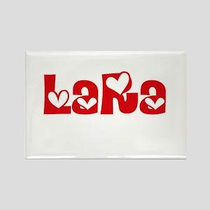 Lara Surname Heart Design Magnets