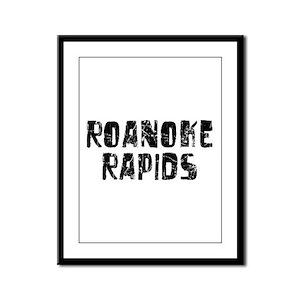 Roanoke Rapids Faded (Black) Framed Panel Print