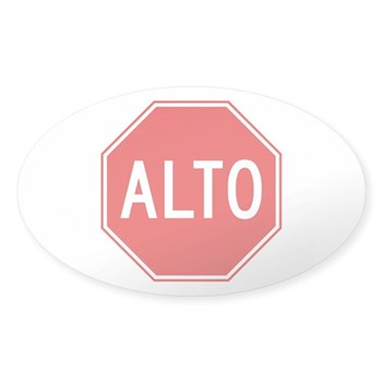 Stop, Mexico Oval Sticker