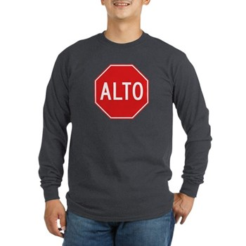 Stop, Mexico Long Sleeve Dark T-Shirt