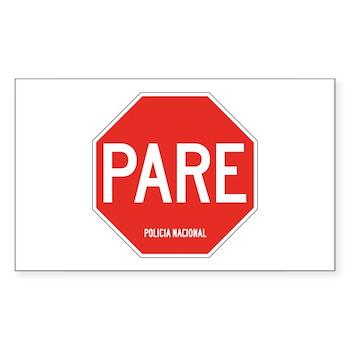 Stop, National Police, Ecuador Rectangle Sticker