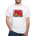 Red Hibiscus White T-Shirt