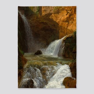 View of Waterfalls Nature Painting 5'x7'Area Rug