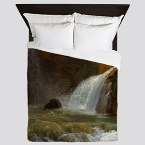View of Waterfalls Nature Painting Queen Duvet
