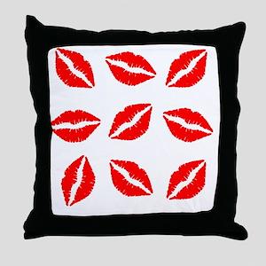 Red Lipstick Kiss Print Throw Pillow