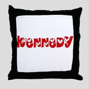 Kennedy Surname Heart Design Throw Pillow