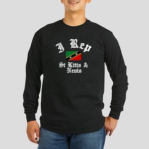 I rep St Kitts Long Sleeve Dark T-Shirt