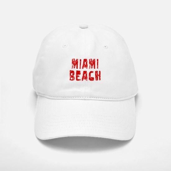 Miami Beach Faded (Red) Baseball Baseball Cap
