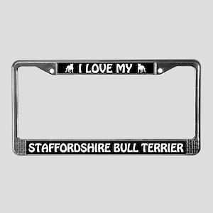 I Love My Staffordshire Bull Terrier License Frame