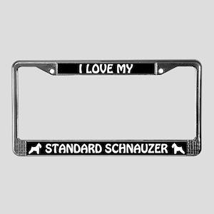 I Love My Standard Schnauzer License Plate Frame