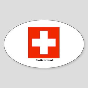 Switzerland Swiss Flag Oval Sticker