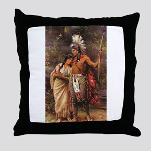 more man and woman joined Throw Pillow