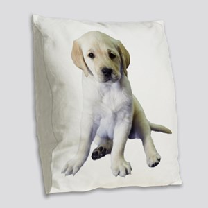 Noble Labrador Puppy Burlap Throw Pillow