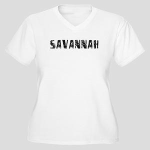 Savannah Faded (Black) Women's Plus Size V-Neck T-