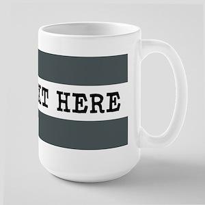 Personalized Gray Striped 15 oz Ceramic Large Mug