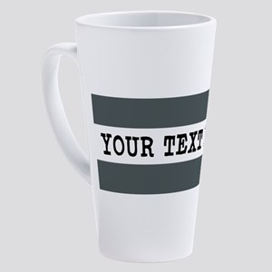 Personalized Gray Striped 17 oz Latte Mug