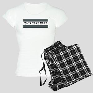 Personalized Gray Striped Women's Light Pajamas
