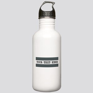 Personalized Gray Stri Stainless Water Bottle 1.0L