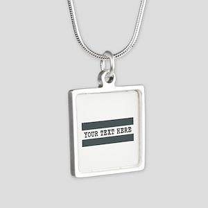 Personalized Gray Striped Silver Square Necklace