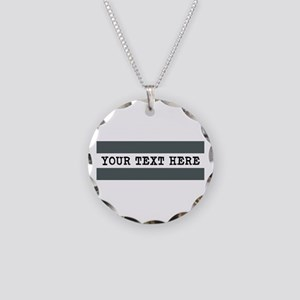 Personalized Gray Striped Necklace Circle Charm