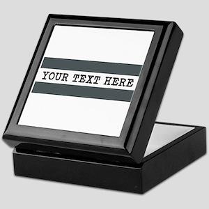 Personalized Gray Striped Keepsake Box
