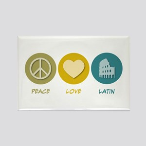 Peace Love Latin Rectangle Magnet