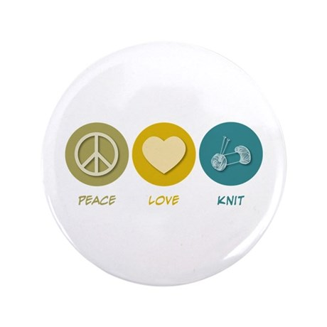 "Peace Love Knit 3.5"" Button (100 pack)"